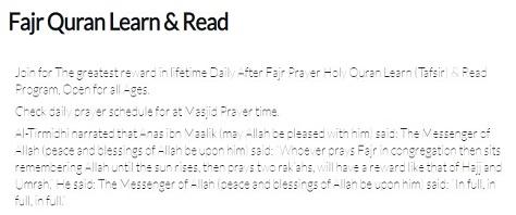 Fajr Prayer and Quran